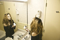 (yyellowbird) Tags: selfportrait canada reflection girl yellow hair bathroom hotel mirror winnipeg explore cari frontpage marlborough dryer