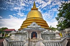 Golden Stupa (roevin | Urban Capture) Tags: blue light sky colors statue temple gold golden buddha stupa buddhist religion decoration statues saturation getty symmetrical srilanka 1020mm lowangle dambulla dagoba