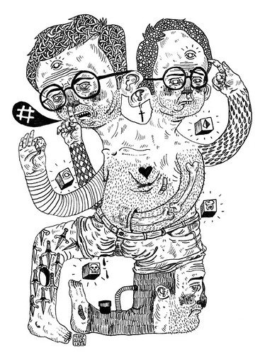 prints available. (pearpicker.) Tags: hairy illustration print drawing ugly bones cubes mutation knifes giclée pearpicker