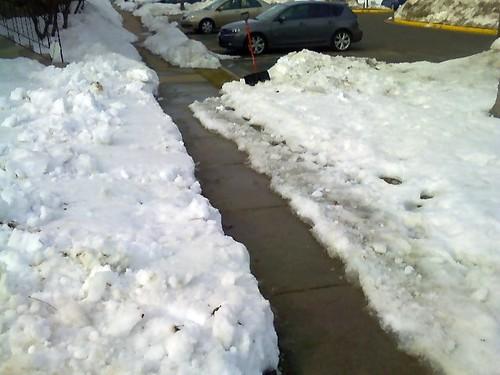 Poured concrete sidewalk