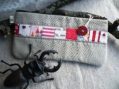 Watch out!! (monaw2008) Tags: bug quilt handmade mini fabric pouch patchwork pinwheels monaw monaw2008 dqs8 dollquiltswap8
