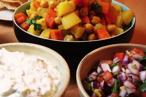 Potato curry, cachumber and raita
