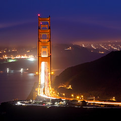 Golden Gate Bridge Line-up from CRT (Rob Kroenert) Tags: sanfrancisco california ca bridge blue usa mist tower fog night point golden bay haze gate san francisco long exposure south marin north ridge trail coastal goldengatebridge hour area headlands vista marinheadlands vistapoint lineup coastalridgetrail