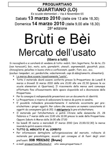 Brùti e Bèi 2010-Mercato dell'usato