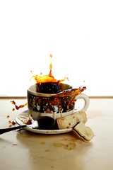 Caution: Contents may be hot (Phantasy Photo) Tags: wood food hot cup coffee table fun cookie drink fast spoon eat caution messy icecubes sweets splash assistant highspeed backlighting dunk sip studiolighting hotcoffee anawesomeshot coffeesplash contentsmaybehot