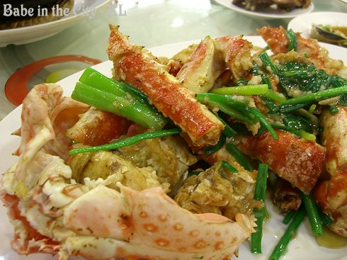 Stir-fried King Crab with Spring Onions and Garlic