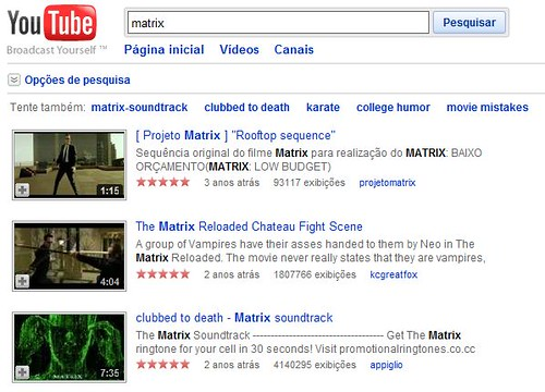 Exemplo Matrix no Youtube