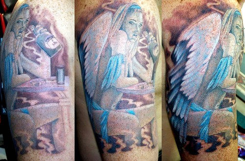 angel sleeve tattoo pictures. Portrait 3/4 Sleeve Tattoo