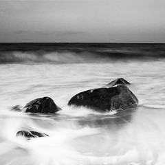 The stone in the middle (c e d e r) Tags: ocean longexposure sea sky blackandwhite bw seascape nature stone sunrise square landscape dawn marine rocks europe long exposure sweden stones halmstad beforesunrise ceder flickriver cederfoto iiimono