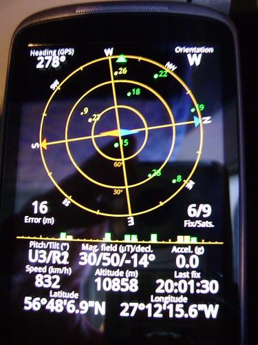Nexus One gps over Atlantic