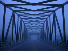 symmetry (Orienting Response) Tags: morning bridge blue winter cold fog concrete quiet steel symmetry silence symmetrical carnationwa