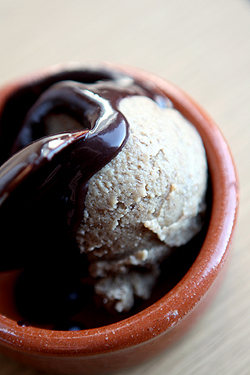 banana ice cream with chocolate sauce
