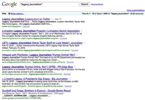 "Google Search from ""Legacy Journalism"""
