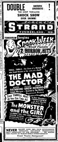 THE MONSTER AND THE GIRL (1941) Newspaper advertisement 2-27-41