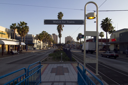 The right of way in Long Beach features median fencing and landscaping which makes the streets friendlier for pedestrians.