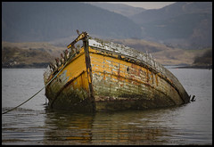 We all fail sometimes (steverichard) Tags: west water yellow canon sadness coast scotland boat image alba argyll vessel 5d hull sunken melancholy woodenboat wreck sinking atalanta ecosse ardfern escozia steverichard