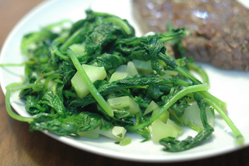 broccoli stems & radish greens