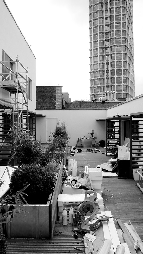 Tottenham Court Road residential courtyard near completion (ESA)
