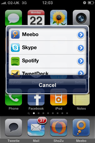 iPhone application switcher mockup