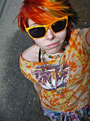 Lots of orange (Megan is me...) Tags: blue red portrait orange color green colors smile fashion rose yellow self hair effects photography one diy clothing crazy rainbow eyes colorful neon pretty colours russell mckay bright unique awesome meg violet plum megan style nuclear special clothes kind fishbowl iguana jerome colored mayhem punky striped bleached dyed napalm sfx rosered megface meganisme bleachednapalmorange meganyourface