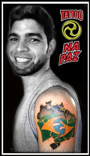 Brasil (Bandeira e mapa) Tattoo by Pablo Dellic