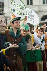Robin Hood Tax media stunt (allispossible.org.uk) Tags: news robin demo political protest corporation hood taxes press banks oxfam stunt bankers robinhoodtax banksters photostunt