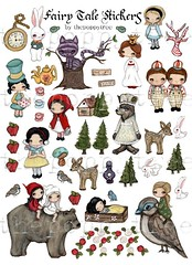 fairy tale stickers (the poppy tree) Tags: blue grandma trees sleeping red tree rabbit bunny bird art clock apple girl animal rose forest cat painting print wolf cheshire tea alice stickers littleredridinghood stump apples poison snowwhite madhatter whimsical tweedlede