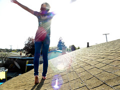 shine down on me my love (stoneylittleprincess) Tags: charity roof sun selfportrait me girl yard spring colorful warm windy trampoline petaluma flares myroof dirtyfeet noshoes sunflares bipolarweather buttonshirt