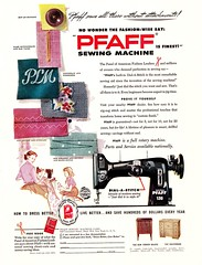 "Can You Say, ""PFAFF?"" (saltycotton) Tags: family vintage magazine children ad mother advertisement fabric 1950s sewingmachine household housewife pfaff 1952"