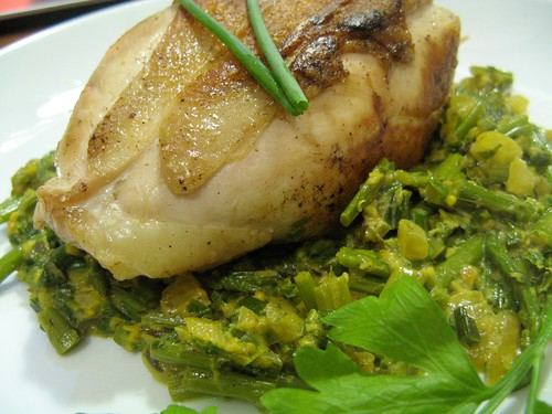 Chicken Cutlets with Asparagus, Spring Onions, and Parsley-Tarragon ...