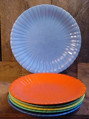 Stangl Colonial Dinner Plate (SurrendrDorothy) Tags: old carnival blue 1920s orange color green home kitchen yellow vintage thirties 1930s bright antique maine 1940s depression pottery dining rib etsy cheerful decor ribbed fiestaware forties homedecor 30s 40s 20s roaringtwenties dinnerplate twenties artfire homegoods surrenderdorothy raymondmaine zibbet