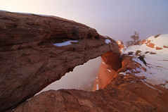 Mesa Arch - Fog, Canyonlands National Park, Utah, United States (Xindaan) Tags: morning schnee winter light orange cliff usa white mist snow plant tree nature water colors rock fog sunrise landscape geotagged dawn licht utah us ut flora nikon sandstone scenery wasser arch nebel unitedstates jahreszeit natur pflanze wideangle tokina explore canyonlandsnationalpark moab dmmerung landschaft stein f8 11mm sonnenaufgang morgen sandstein baum juniper 2010 bogen d300 mesaarch uwa gestein weis islandinthesky ultrawideangle 1116 utahjuniper 1116mm platinumheartaward tokinaatx116prodx tokina1116f28 atx116prodx tokina1116 1116mmf28 281116 mygearandme mygearandmepremium mygearandmebronze mygearandmesilver mygearandmegold