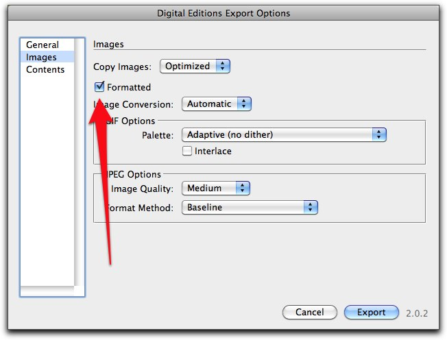 Formatted images with InDesign during Export to ePub