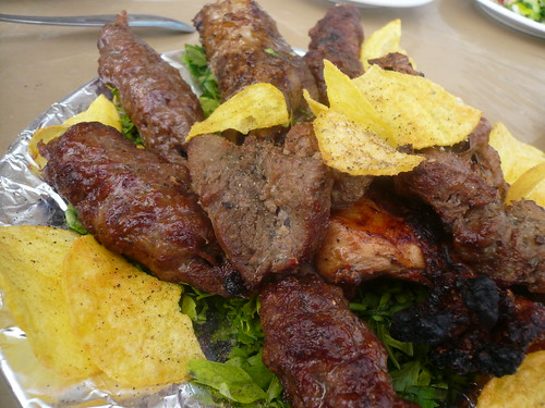 Mixed grill and kofta with potato chips