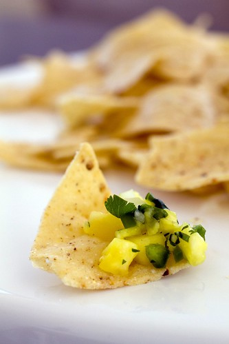 tortilla chip with pineapple salsa