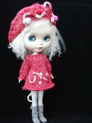 Handspun sweater dress and beret
