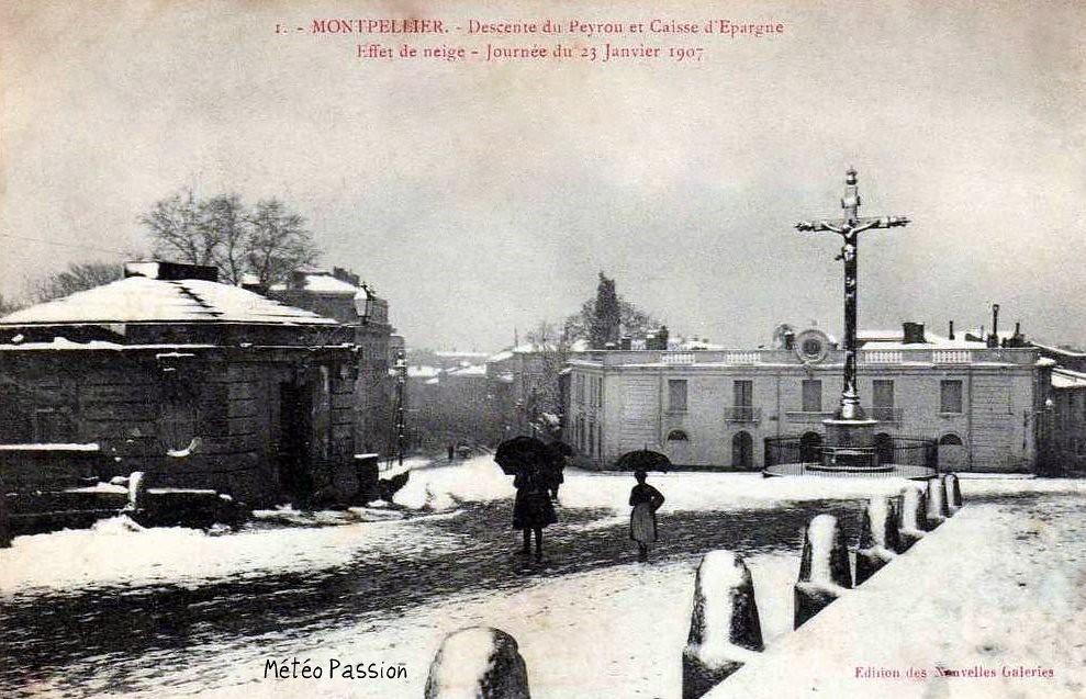 neige à Montpellier le 23 janvier 1907