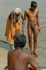 Holy Morning Bath in Ganges River,  Varanasi (Sekitar) Tags: morning shirtless india man river bath holy varanasi bathing hinduism washing ganga sadhu ganges ghat uttar sekitar langoti earthasia pradesth ©sekitar