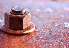 Rust Nut (ewitsoe) Tags: seattle red metal wall washington nikon rust barrels machine rusty bolt abandonded nut corrosion chemical corrode abrasion dekay d80