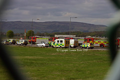 Emergency Landing response (Cameron Burns) Tags: uk greatbritain plane canon airplane geotagged scotland airport canon300d action unitedkingdom glasgow aircraft aviation police aeroplane ambulance tagged gb sas emergency paisley geo canoneos eos300d canoneos300d renfrew airliner aerospace gla airfield firebrigade firerescue glasgowinternational emergencylanding glasgowairport strathclydefirerescue strathclydepolice egpf abbottsinch emergencyresponce standrewsambulanceservice
