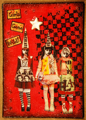 GIRLS GONE WILD II (Red Heart Studio) Tags: color art atc artisttradingcard collage pen ink paper design paint image handmade mixedmedia creative craft stamp card swap marker create trade gel