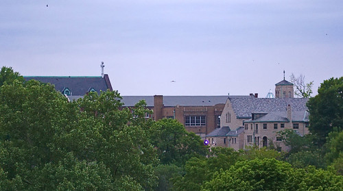 View of Saints Mary and Joseph Church and the Motherhouse of the Sisters of Saint Joseph of Carondelet, taken from Bellerive Park, in Saint Louis, Missouri, USA