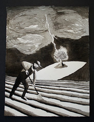The Farmer (Jonathan Rohlf) Tags: blackandwhite storm drawing farmer lightning treeonfire inkwash