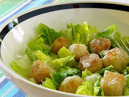 Crunchy Pizza Dough Croutons with Caesar Salad