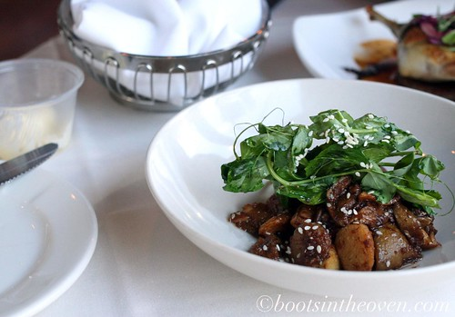 Seared Essex County Mushrooms: Griddled Wild Mushrooms Deglazed with Soy Vinegar. Water Chestnut and Wilted Pea Tendrils.