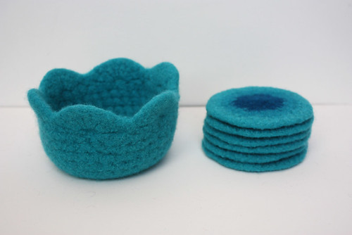 Felted coaster set.