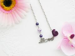 C114 (adornoartesanato) Tags: love vintage necklace purple pearls romantic colar bijutaria romantico jewerly purpura prolas