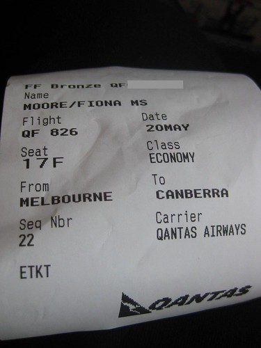 Qantas boarding receipt for mobile checkin