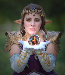 Princess Zelda's Mystical Power Sphere (gbrummett) Tags: beautiful pretty cosplay spirit fantasy mystical magical vignette thelegendofzelda princesszelda canoneos5dmarkiicamera canonef85mmf12lusmlens princesszeldazerudahimeisfromthelegendofzeldaseries