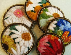 Recycled crewel brooches!! (woolly  fabulous) Tags: flowers floral pin recycled embroidery zipper brooches ecofriendly crewel thrifted